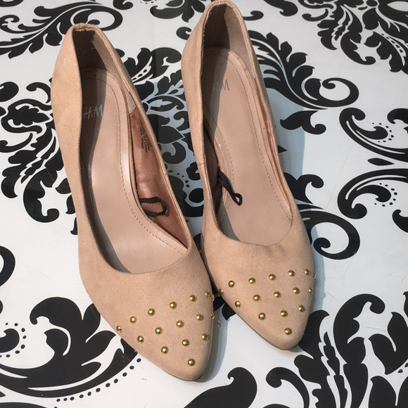 H&M Shoes | Hm Suede Pumps With Golden Heel | Poshmark